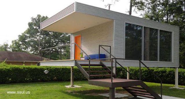 Casa prefabricada peque a moderna sobre pilotes en estados - Casas prefabricadas pequenas ...