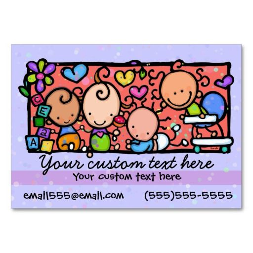 babysitting day care  child care purple  business card