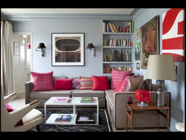 Color Watch  Fuchsia And Hot Pink  Tan Sofa White Coffee Tables Fair Pink Living Room Furniture Decorating Design