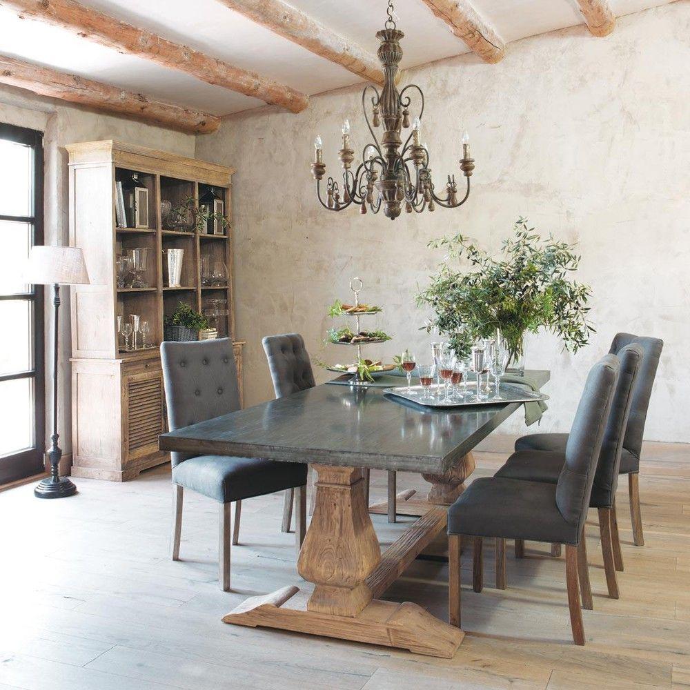 Mesa de comedor de metal y madera reciclada personas l