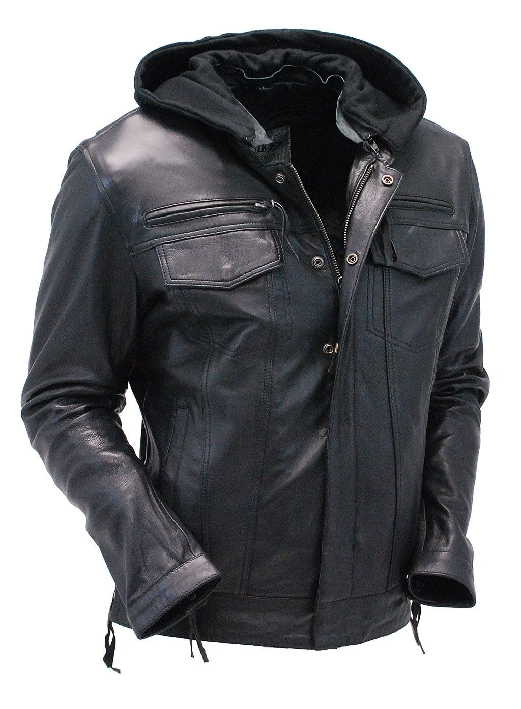 Men S Black Lambskin Hooded Jean Ccw Jacket W Vents M6905ghk Leather Hoodie Leather Jacket With Hood Black Leather Jeans [ 1395 x 1024 Pixel ]