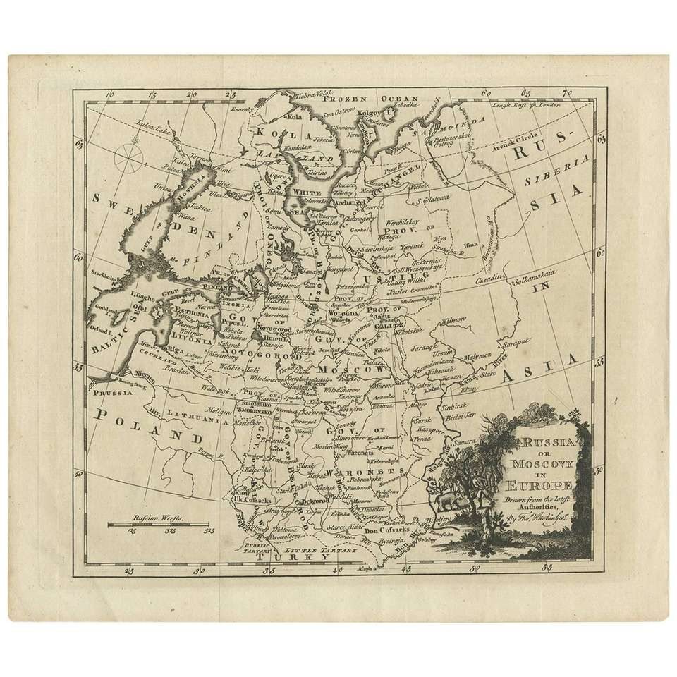 Antique Map Of Russia In Europe By T Kitchin Circa 1770 Global Gallery Graphic Art Vintage Map