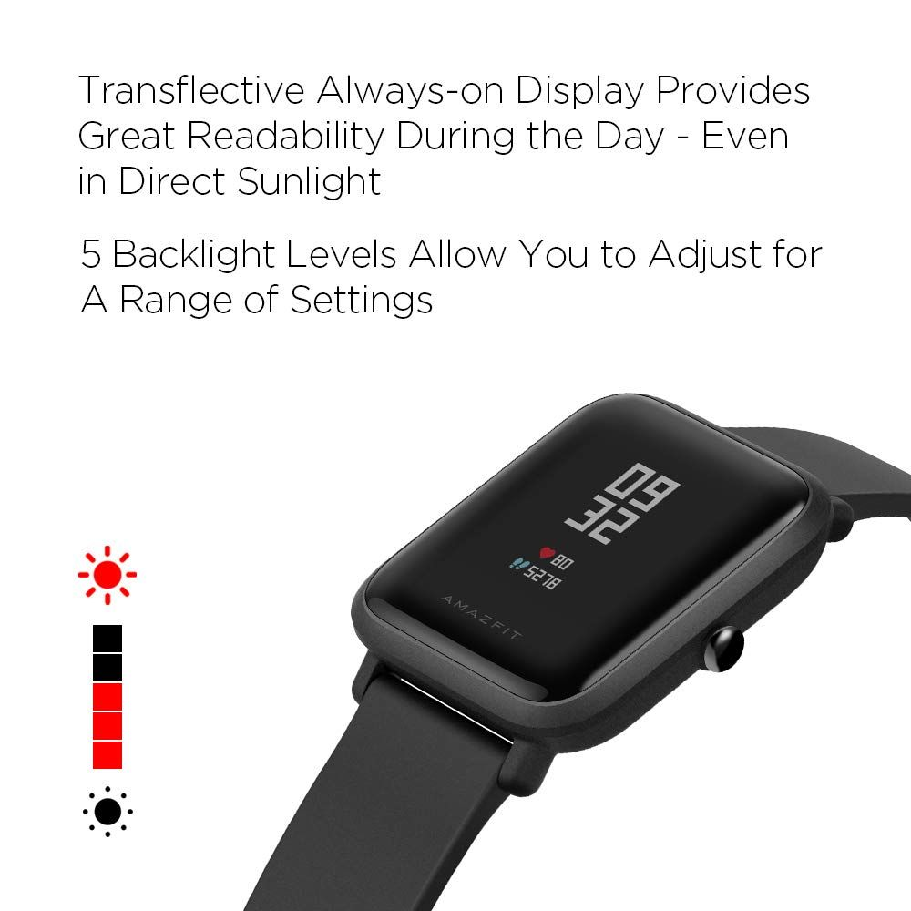 b8aa6a97e Amazfit Bip Smartwatch by Huami with All-Day Heart Rate and Activity  Tracking, Sleep Monitoring, GPS, Ultra-Long Battery Life, Bluetooth, US  Service and ...