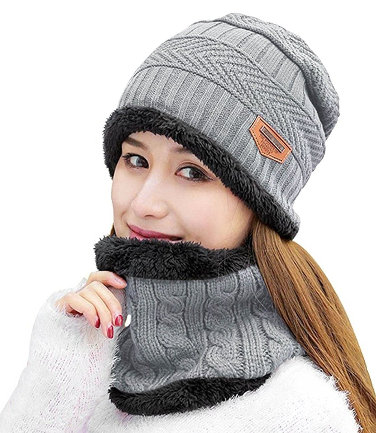 45fdcd2840744 Womens Beanie Winter Hat Scarf Set Slouchy Warm Snow Knit Skull Cap - Light  Grey - CE188EH3GWX - Hats   Caps
