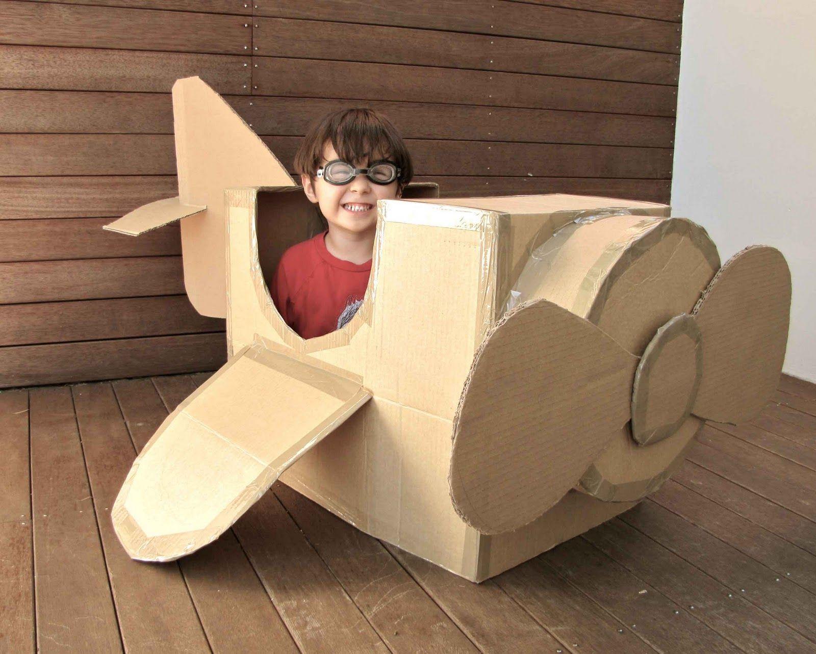Diy cardboard box plane ny minimocha diy toyplane carboardbox