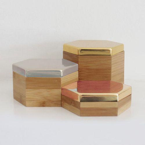 Geometric Hexagon Shaped Lidded Storage Box Jewelry Organization Home Decor