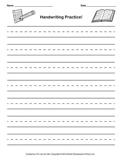 Handwriting paper template printable writing paper for Learning to write paper template