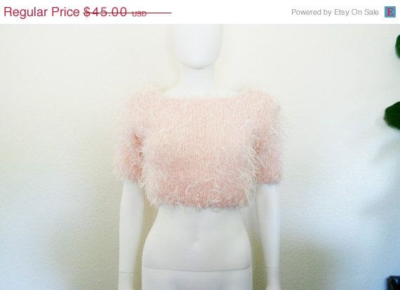 90s Furry Fuzzy Crop top Sweater / Light Pink by DEEEPWATERVINTAGE ...