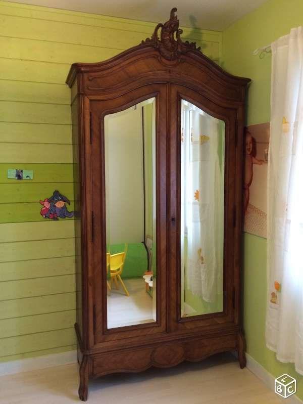 Armoire ancienne avec 2 portes vitrées | collections / brocante ...
