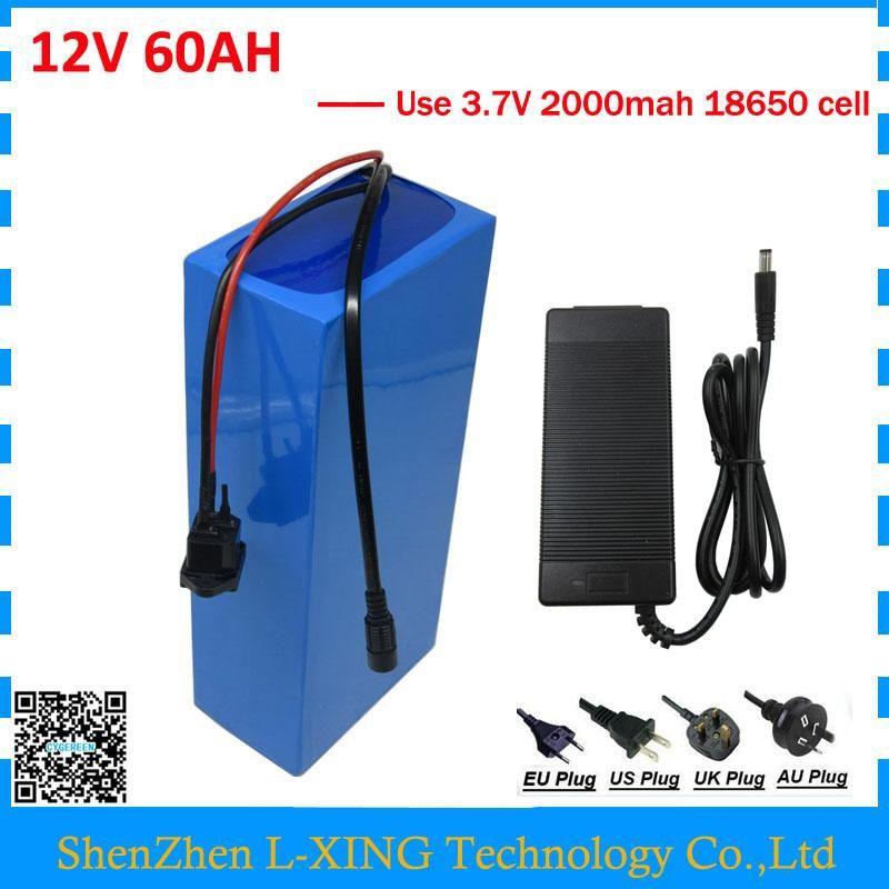 12V 60AH battery 12 V 60AH 60000MAH Lithium ion battery 30A BMS for 12V 3S Ebike Battery 5A charger EU US no tax