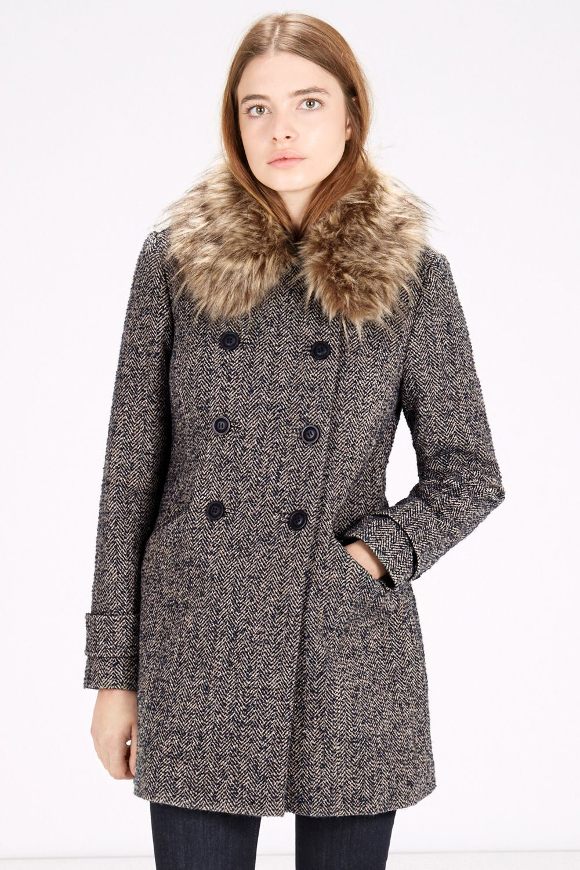 Winter Coats | Blue DB Fur Collar Coat | Warehouse | 2015 Autumn