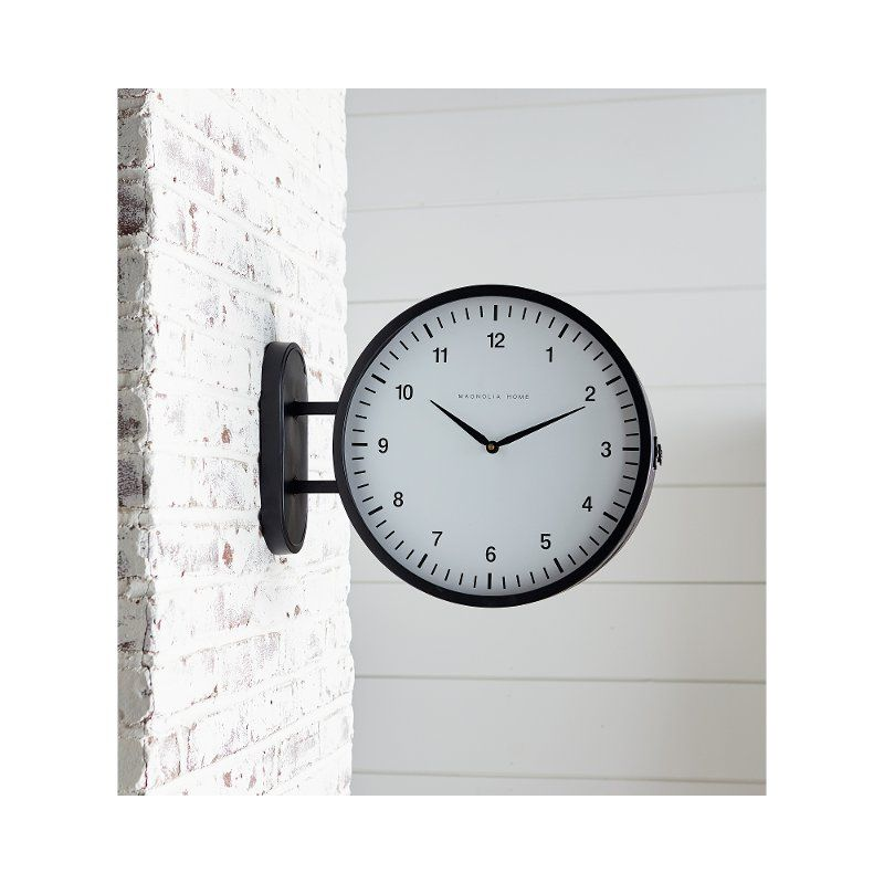 Magnolia Home Furniture Black Metal 2 Sided Wall Clock Wall Clock Magnolia Homes 2 Sided Wall Clock