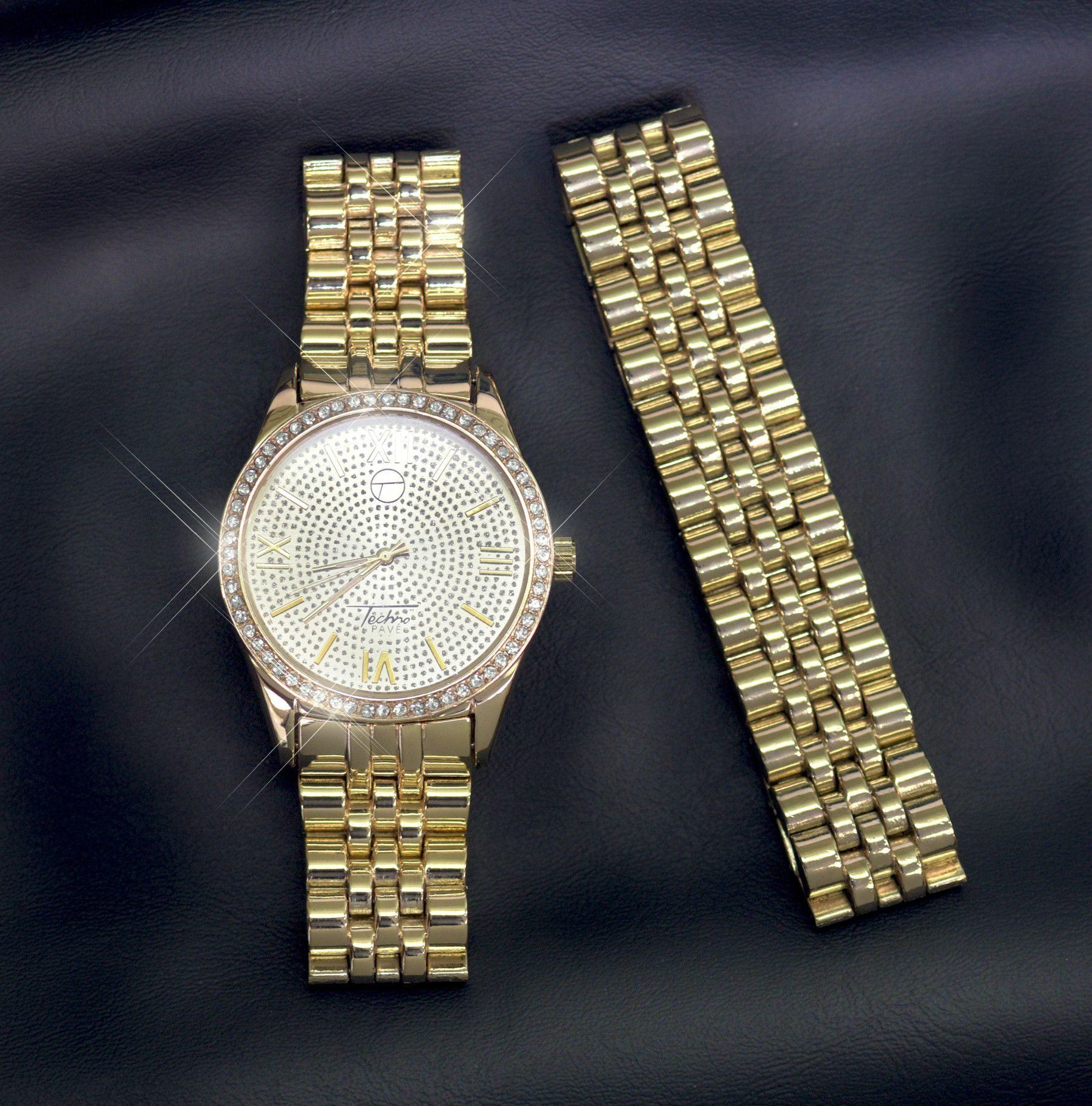 Menus iced out k gold finish simulated diamond presidential style