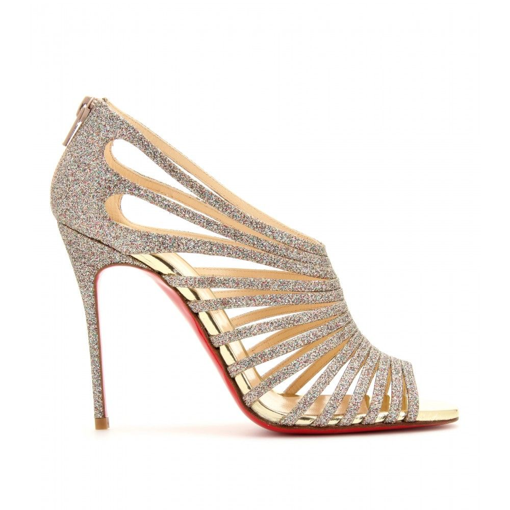 Silver cage sandals by Christian Louboutin