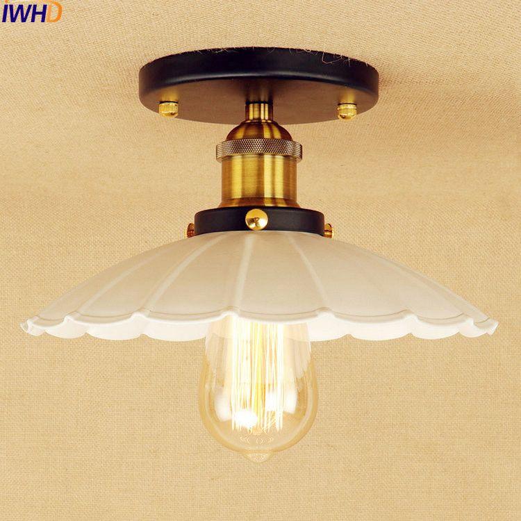 White LED Vintage Ceiling Light Fixtures Balcony Aisle Lampen Plafondlamp  Luminaire Loft Style Edison Ceiling Lamp