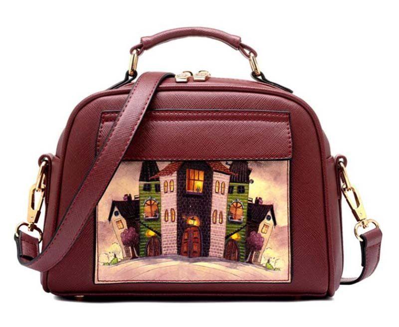 efc339dea526 New Brand Printed Vintage Handbag PU Leather Womens Medium Tote Bags Female  Crossbody Bags For Women Handbag CX052