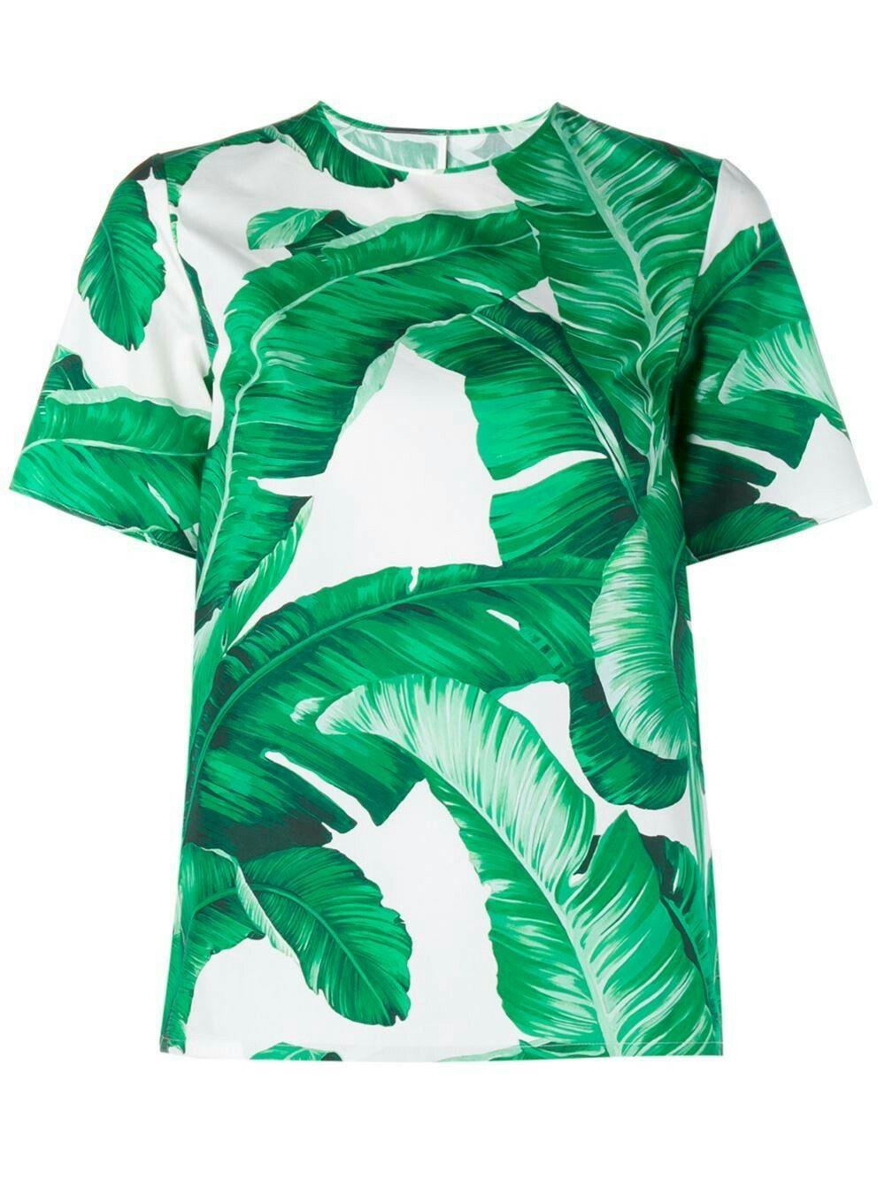 0dd032fab47cc3 Banana Leaf Print Short Sleeve Top