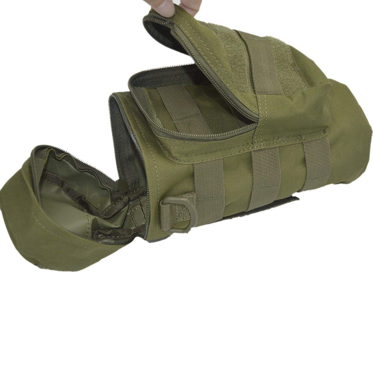 Outdoor Sport Tactical Gear Nylon Molle Zipper Camo Large Water Bottle Bag Kettle Pack w/ Mess Pouch Army Green