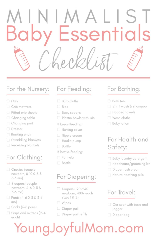 Minimalist Baby Essentials Checklist