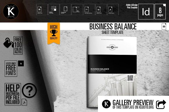 Business Balance Sheet Template by Keboto on @creativemarket