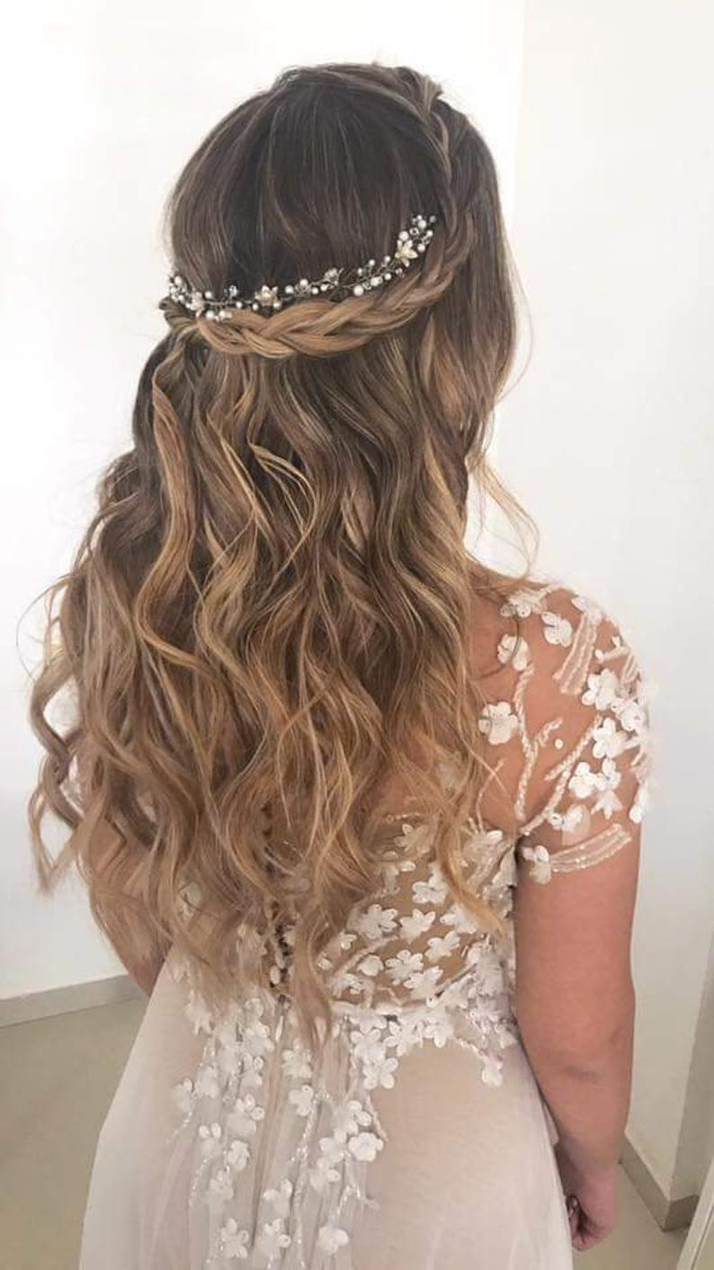 Vid de pelo de novia, tocado de novia, corona de pelo de novia, corona de pelo de flores, boda Boho, tocado de perlas, halo de boda, vid de pelo de plata