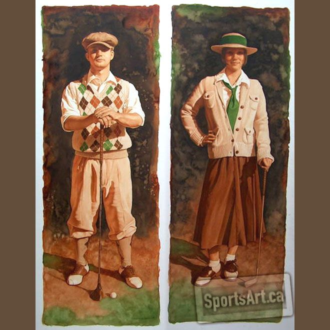 Vintage Golfers These Watercolor Paintings Are Sold As A Pair Each 11x30 And