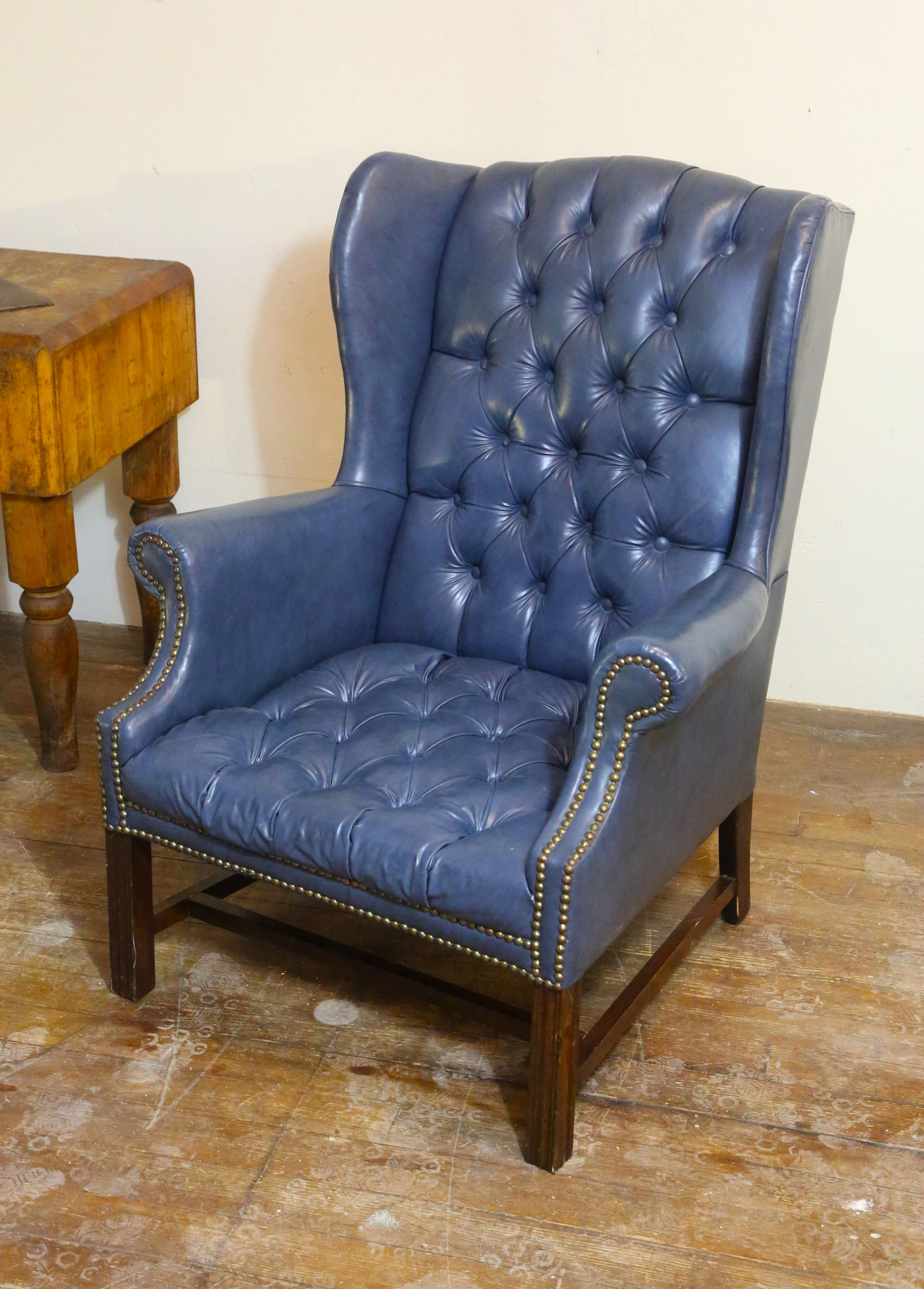 Beautiful Blue Tufted Button Wingback Chair For Sale Now In My Ebay