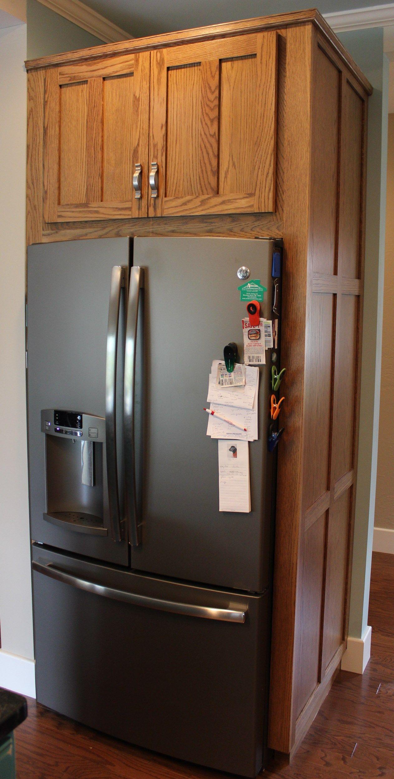 Custom Cabinets Spokane Custom Red Oak Refrigerator Cabinet With Side Panels Kitchen