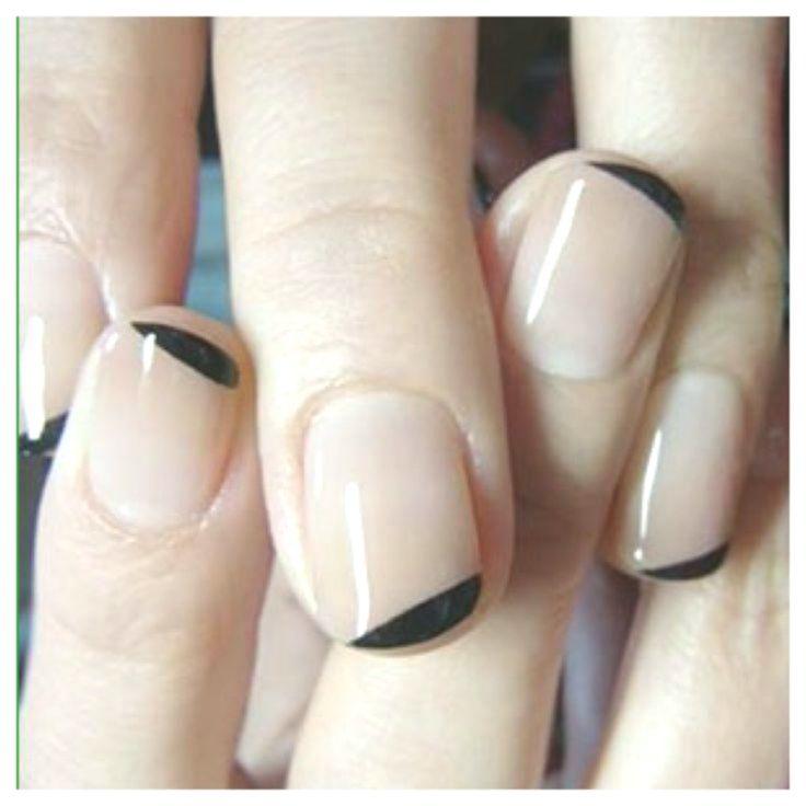 -easy nail art for short nails, - nude base color & black soft lines #shortnaila..., #Art #Base #Black #Color #Easy #lines #Nail #Nails #nude #Short #shortnaila #Soft #koreannailart