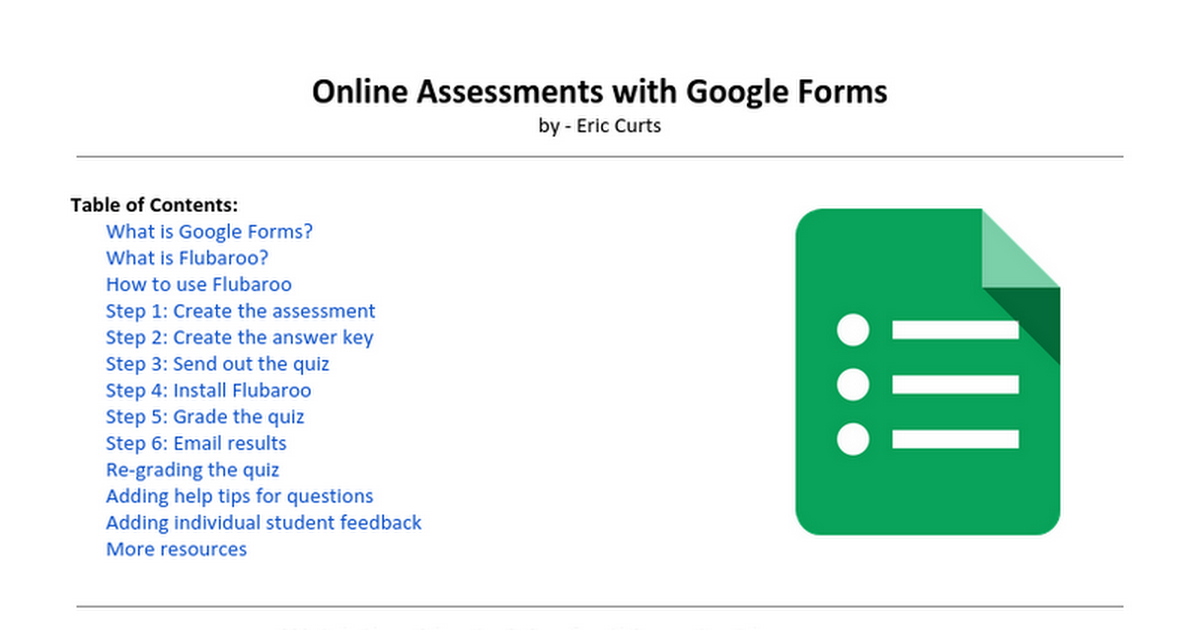 Online Assessments With Google Forms By Eric Curts Table