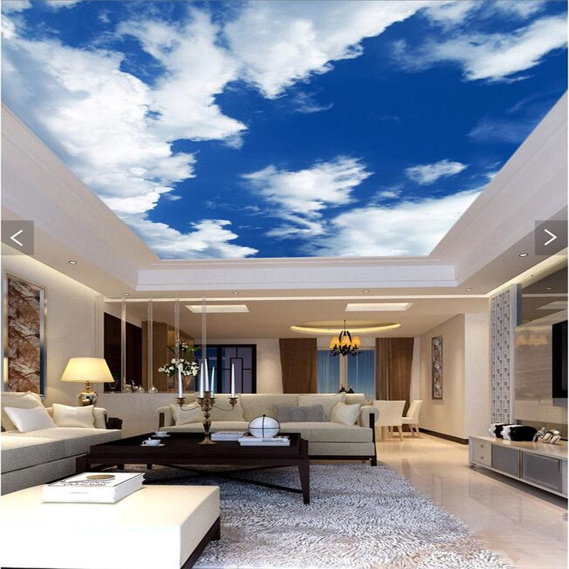 3d Wallpaper Mural Decor Photo Backdrop Blue Sky White Clouds Ceiling Living  Room Restaurant Ceiling Wall