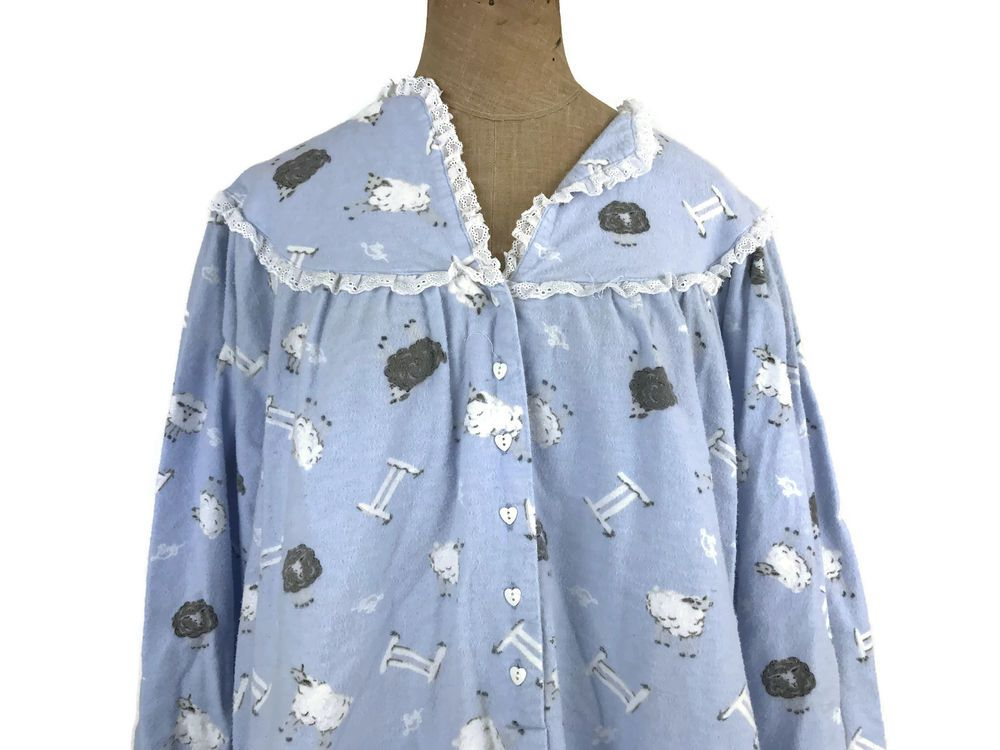 LANZ OF SALZBURG Blue Flannel Cotton Granny Gown Nightgown Counting ...