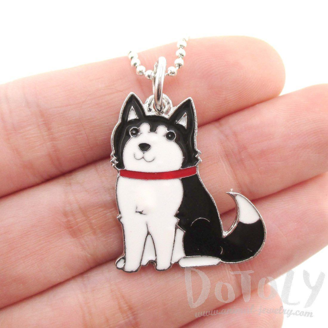 Adorable puppy dog shaped animal pendant necklace in black and white