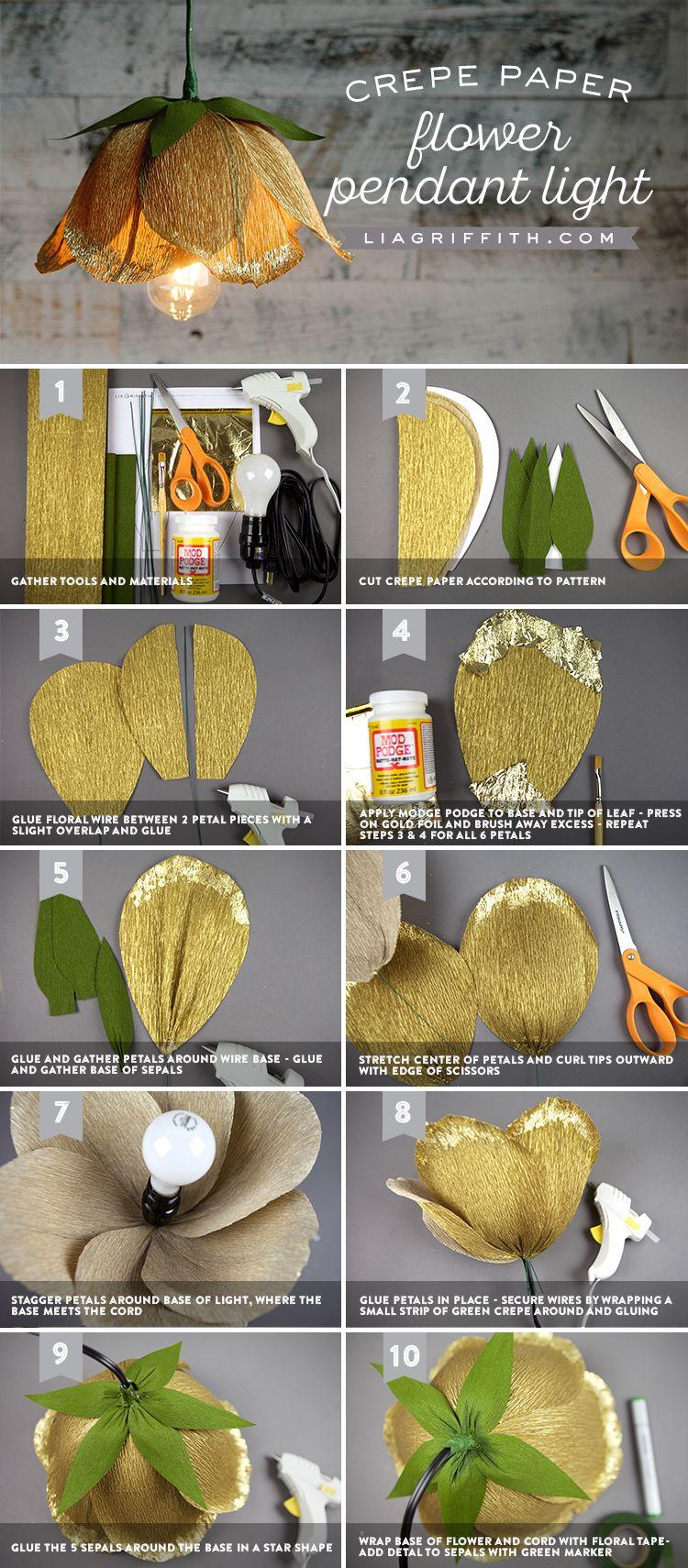 Make a gorgeous diy flower pendant light with crepe paper pendant