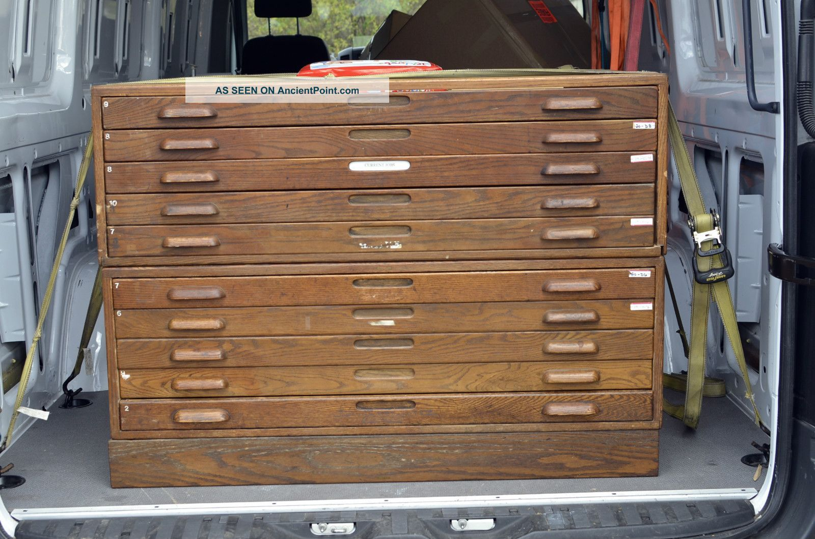10 Drawer 2 Stack Stackable Oak Wood Map File Cabinet Antique Vintage Industrial 1900 1950 Photo