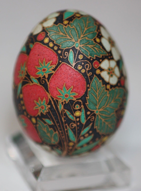 Strawberry Swirl Pysanky Katyegg Eggs Polish Easter Ukrainian