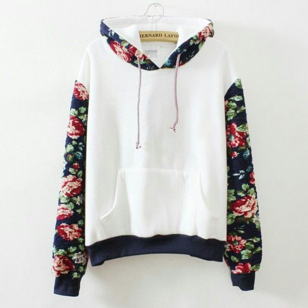 sweater white top flowers floral shirt warm sweater black pink red ...