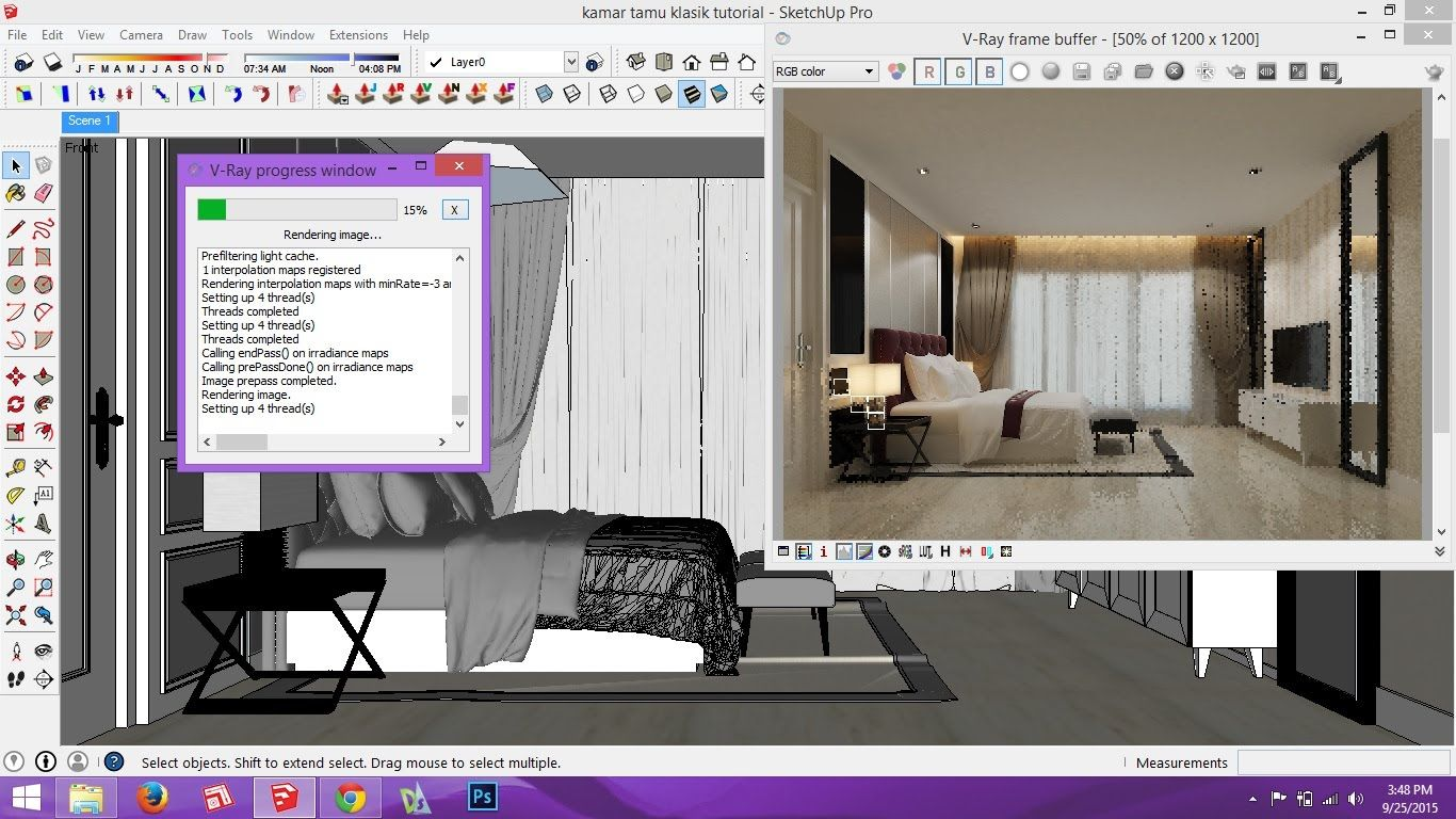 making of interior scene vray sketchup
