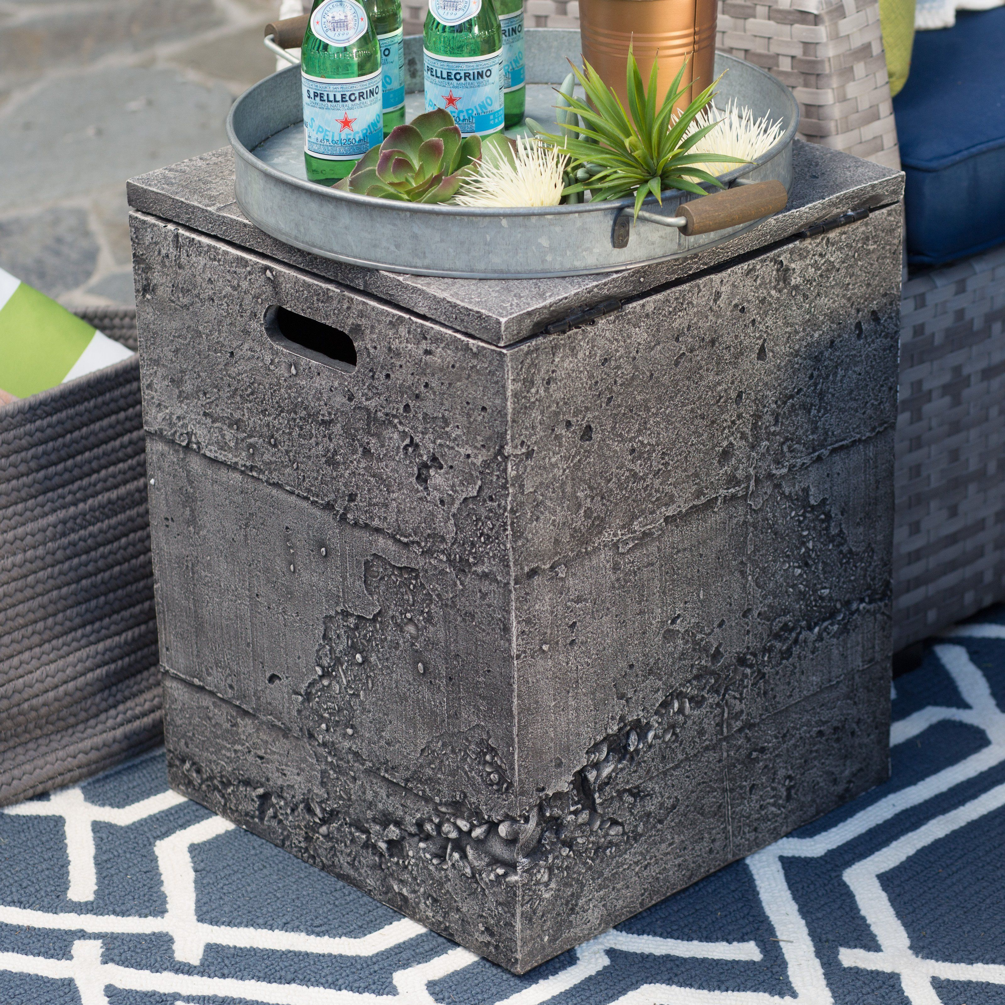 Red Ember Glacier Stone Side Table Tank Cover Nss From