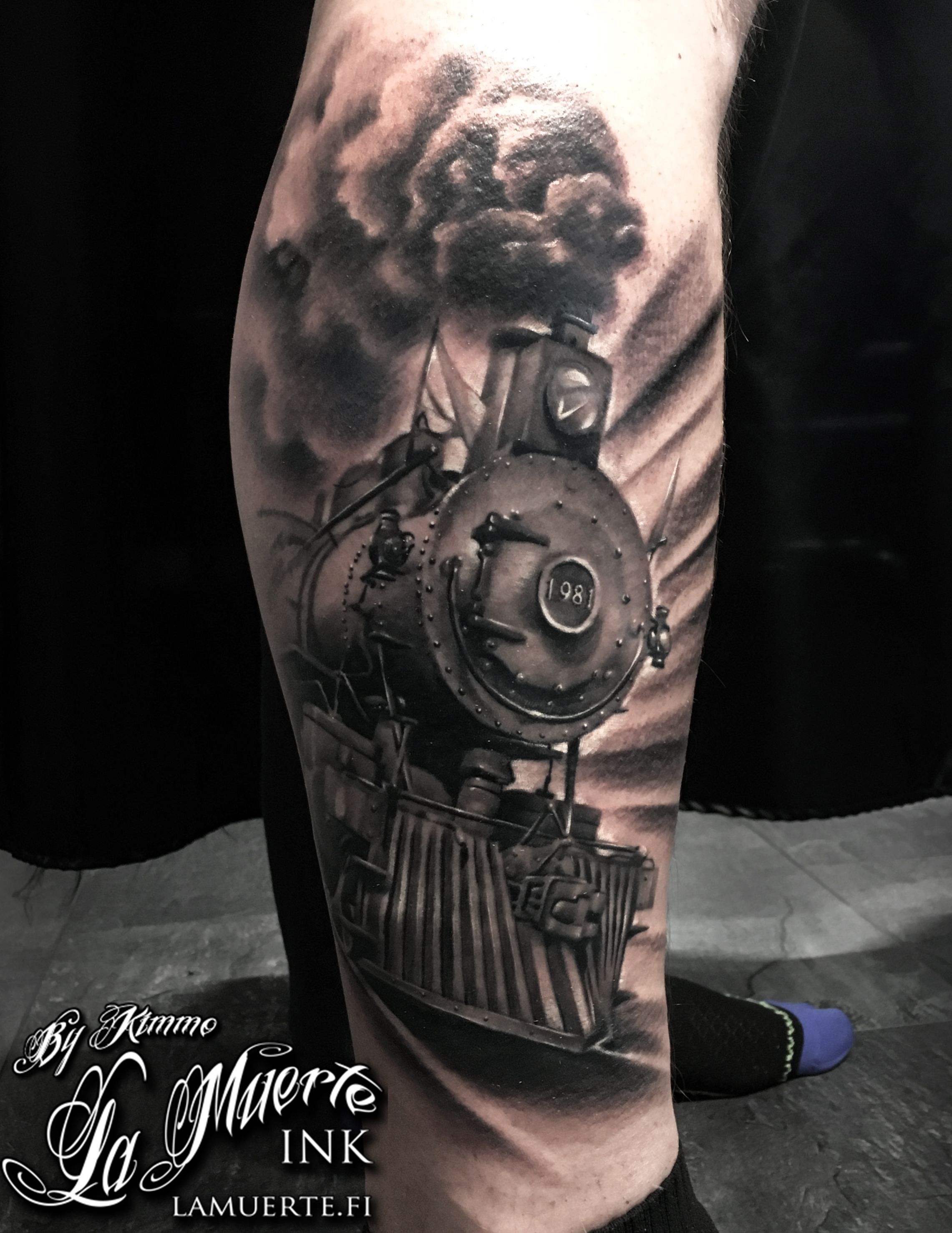 ddcdf2b38a35e Locomotive train tattoo by Kimmo Angervaniva @ La Muerte Ink ...