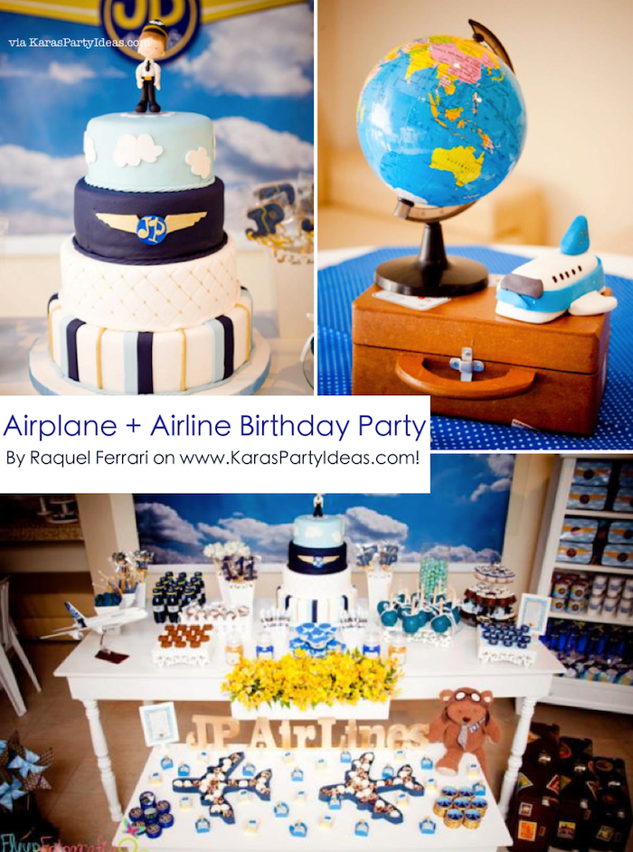 Airplane airline plane themed 1st birthday party via for Airplane party decoration