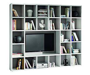 Parete a giorno porta tv in laminato bianco - 261x30x218 cm