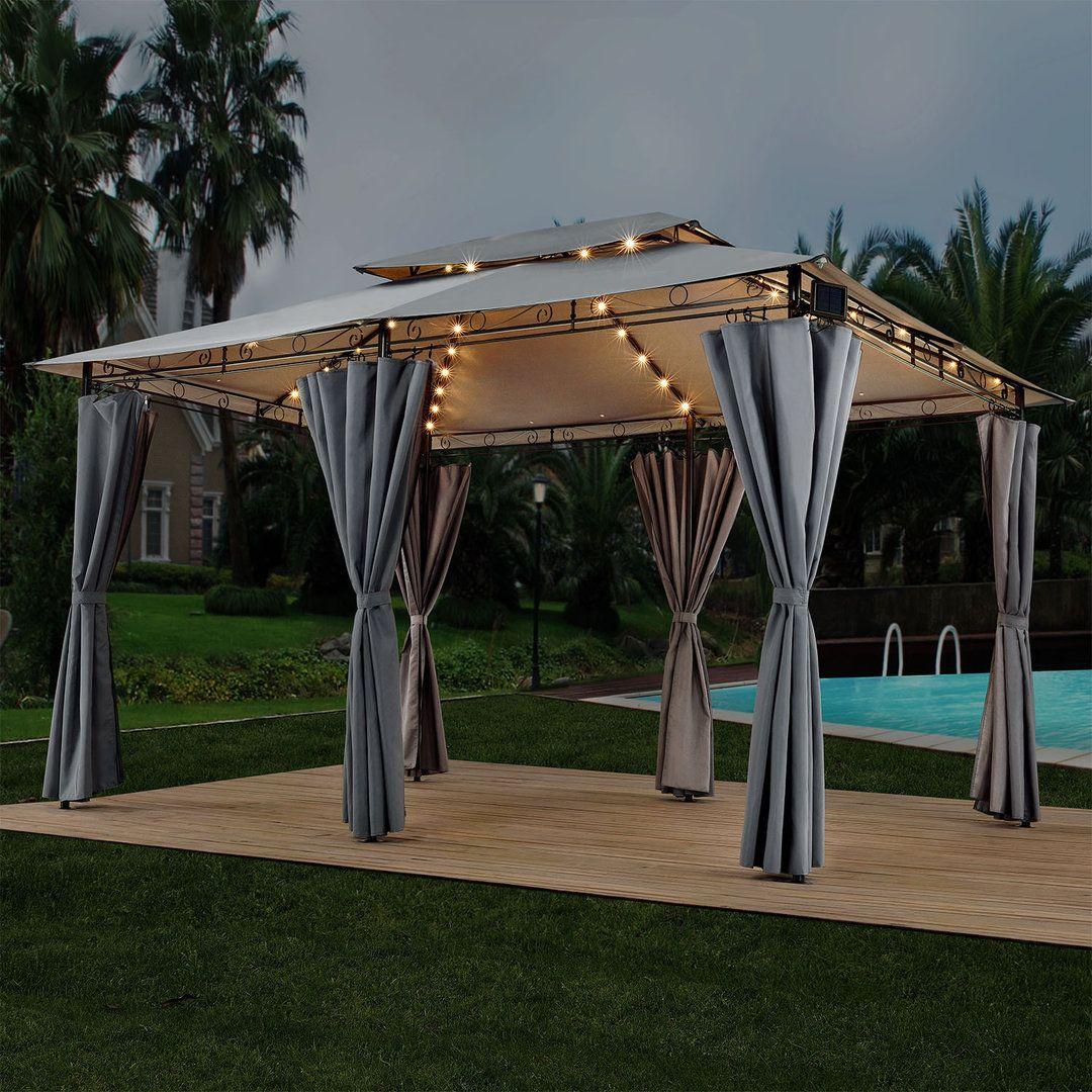 Pavillon Gartenzelt 3x4 Dunkelgrau Mit Led Partyzelt Gartenzelt Pavillon