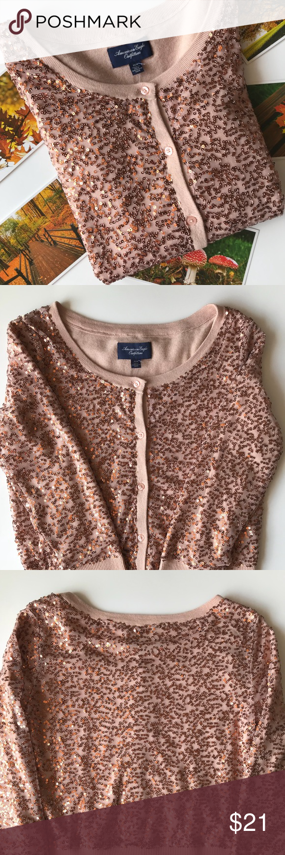 American Eagle: Rose gold sequin cardigan NWT | American eagle ...