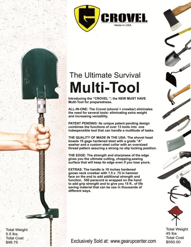 crovel survival tool: I can see someone cobbling this, or something like it, together for exploring or emergency locations