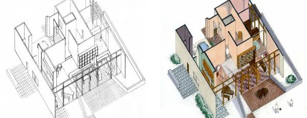 Interior Design Axonometric Drawing