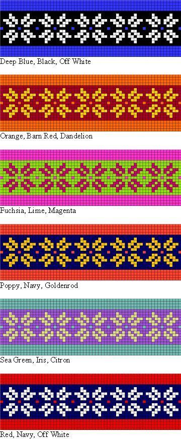 posibilidades colorwork para el patrón que hace punto libre de dos ...
