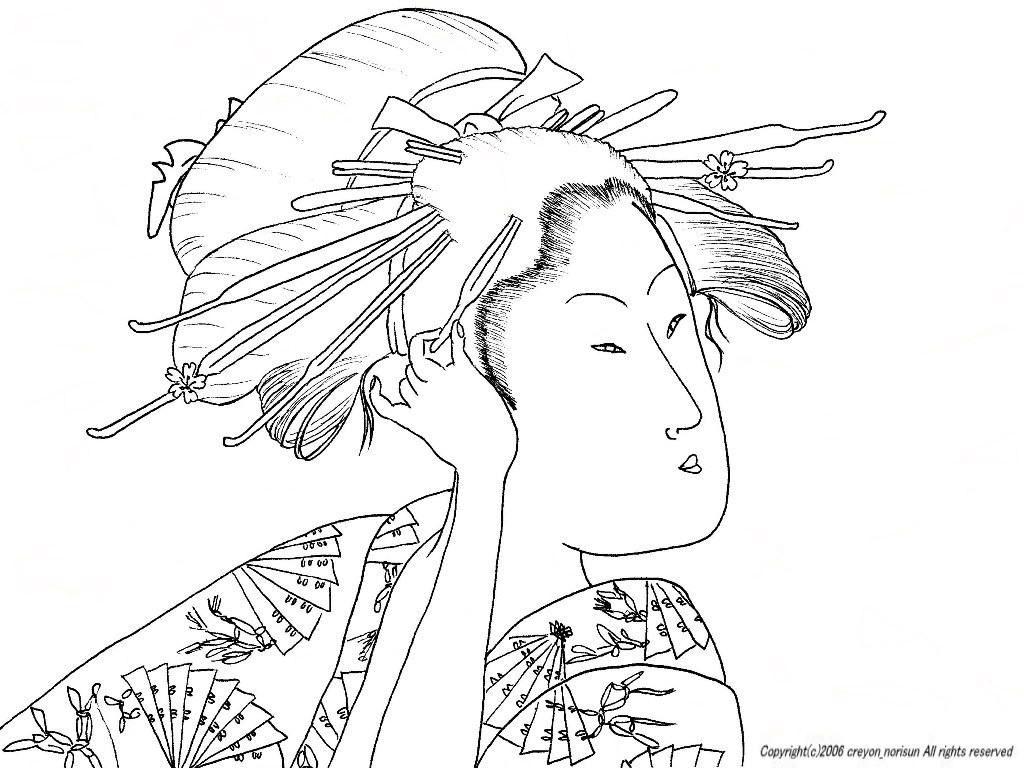 歌麿の美人画の浮世絵の下絵浮世絵のぬりえ 0 Desen Boyama