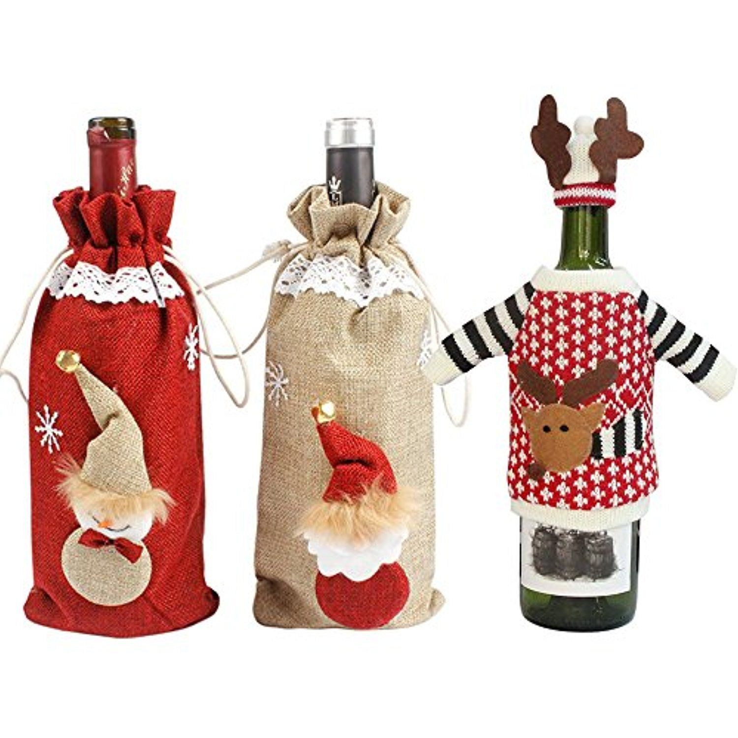 Christmas Red Wine Bottle Cover Bag Champagne Bottle Organizer Xmas Decoration Christm With Images Dinner Table Decor Christmas Decorations Dinner Table Dinner Party Gifts