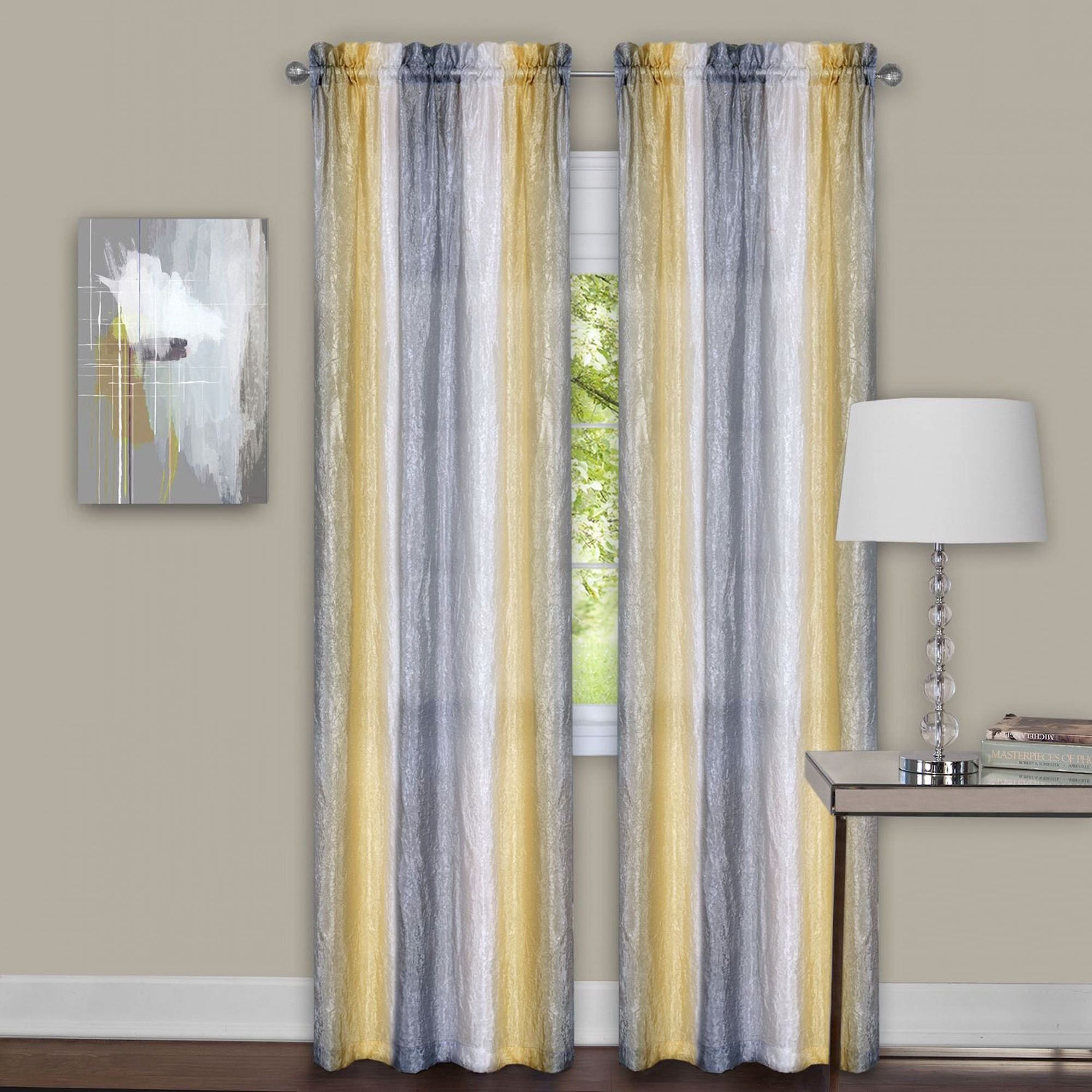 Sacada Crushed Gray And Yellow Ombre Curtains Delta Grey Amp